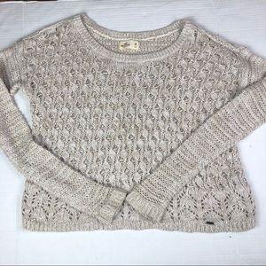 5/$25 Hollister Open Knit Tan Sweater